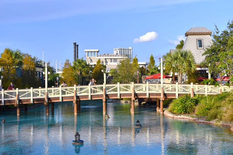 View of bridge, lamps floating above lake on boat restaurant background at Lake Buena Vista. Orlando, Florida. November 24, 2018 View of bridge, lamps floating royalty free stock photography