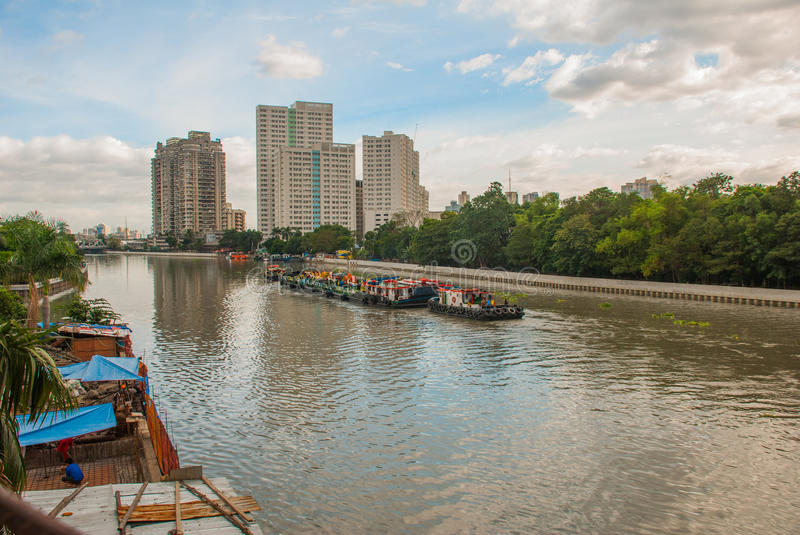The view from the bridge over the river and skyscrapers. Manila, Philippines. stock photography