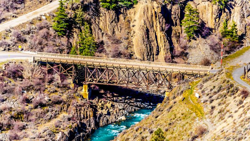 The Bridge River, at the town of Lillooet, British Columbia, Canada stock photos