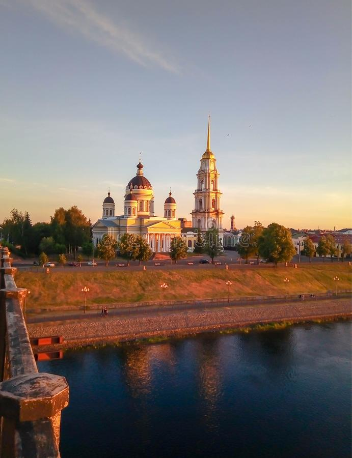 View from bridge to church at sunset royalty free stock photos