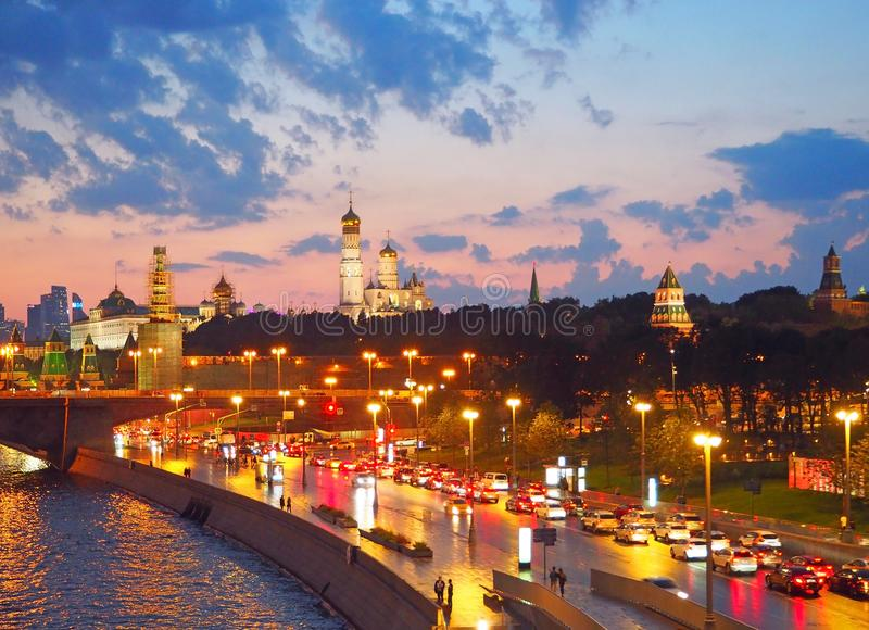 View from the bridge to the Kremlin, cathedral Temple of Christ Savior, Moscow river and Moscow.Panorama at sunset,Moscow,Russia. View from the bridge to the stock image