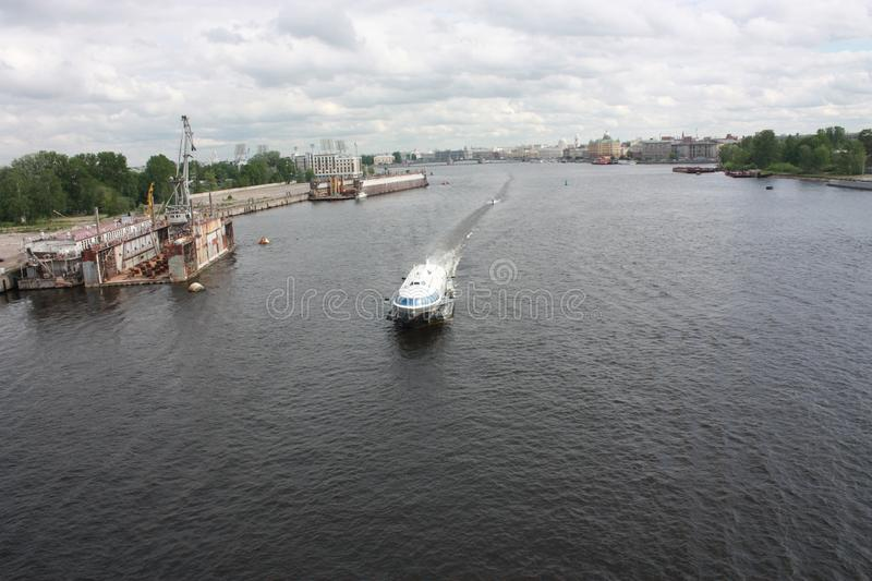 View from the bridge to the Neva river and boats of  Petersburg royalty free stock photos