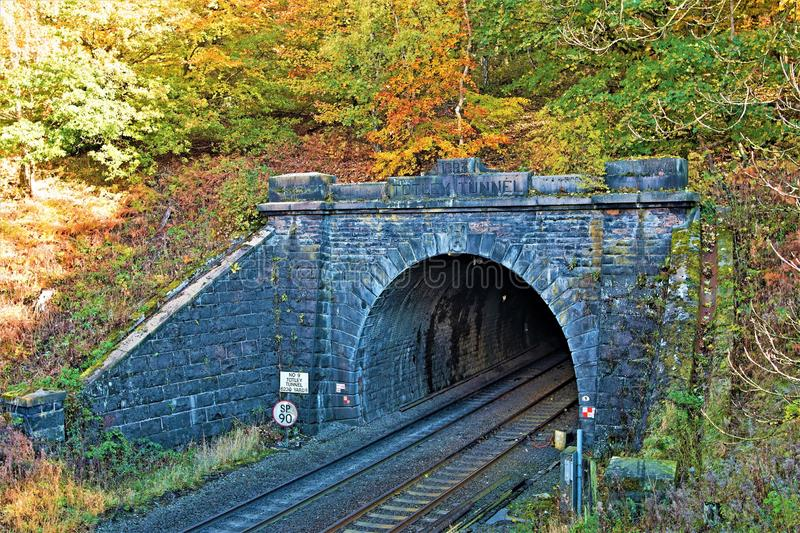 View from the bridge of Totley Tunnel, Grindleford, East Midlands. Taken to capture the rich autumnal colours surrounding Totley Tunnel, in Padley Gorge Woods royalty free stock photo