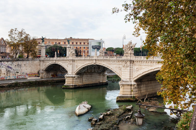 View of Bridge Vittorio Emanuele II, Rome, Italy. stock photo