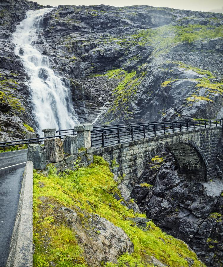 View On Bridge and Waterfall In Troll Road, Norway stock photos
