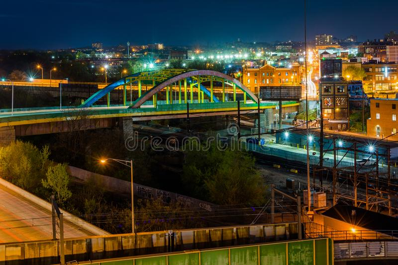 View of bridges at night in Midtown Baltimore, Maryland.  royalty free stock photography