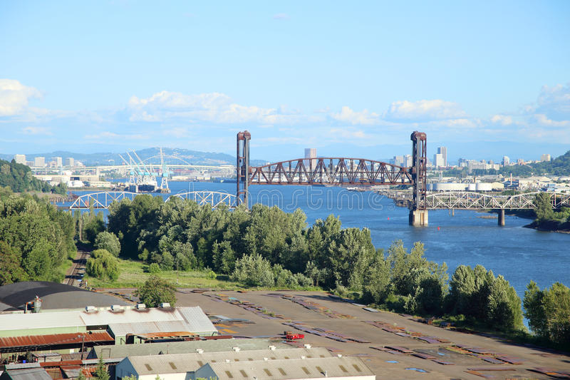 View of the bridges. On the Willamette River on a nice sunny day royalty free stock images