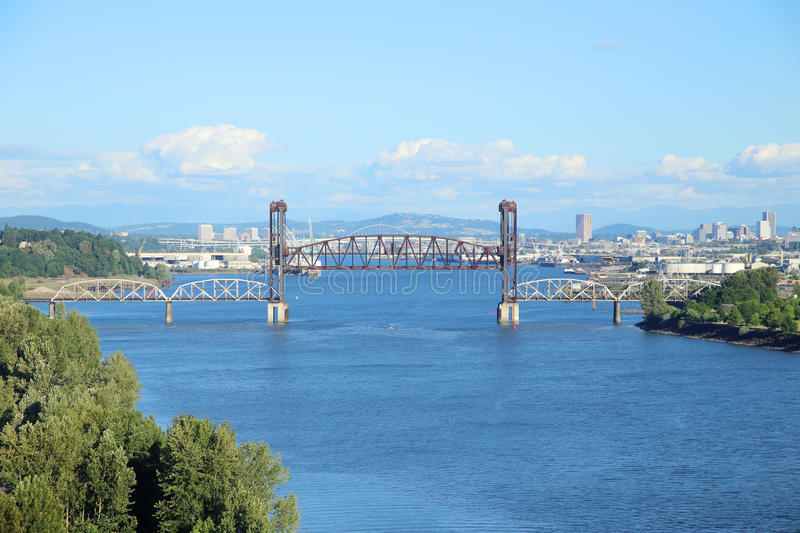 View of the bridges. On the Willamette River on a nice sunny day stock photos