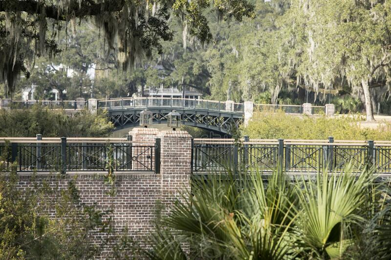 View of bridges and woods in Palmetto Bluff near Bluffton, South Carolina, USA royalty free stock photos