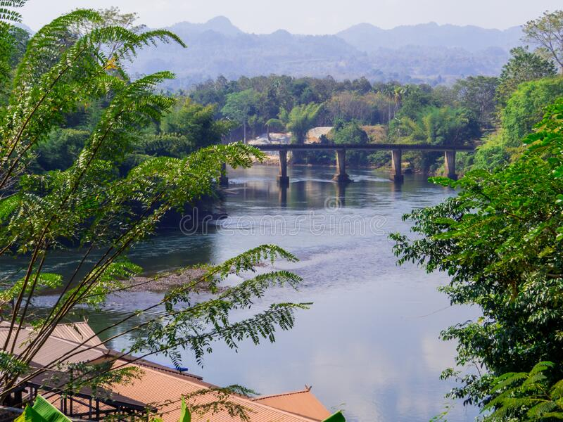 Kwai River, Thailand. View of the brige on the Kwai River in Kanchanaburi, Thailand royalty free stock photos