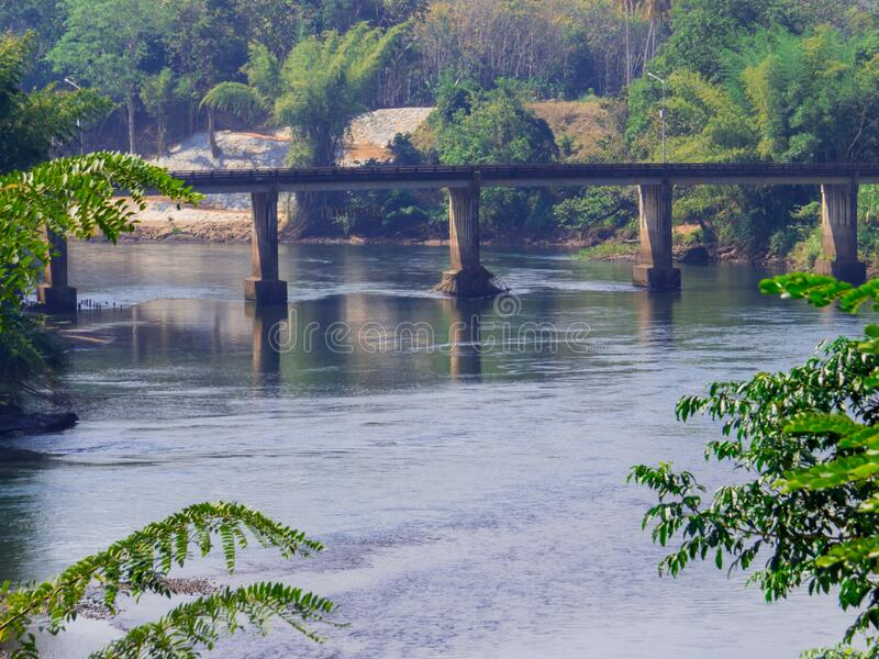 Kwai River, Thailand. View of the brige on the Kwai River in Kanchanaburi, Thailand royalty free stock photo