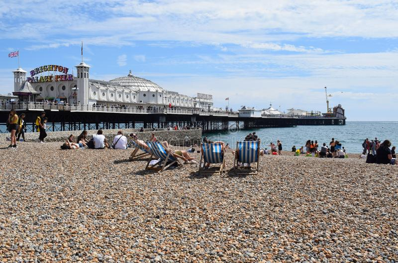 Brighton Palace Pier and Brighton Beach July 2019. The view of Brighton Palace Pier in the UK from the Beach at Brighton Sea Front royalty free stock photo