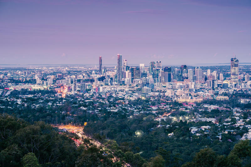View of Brisbane City from Mount Coot-tha royalty free stock images