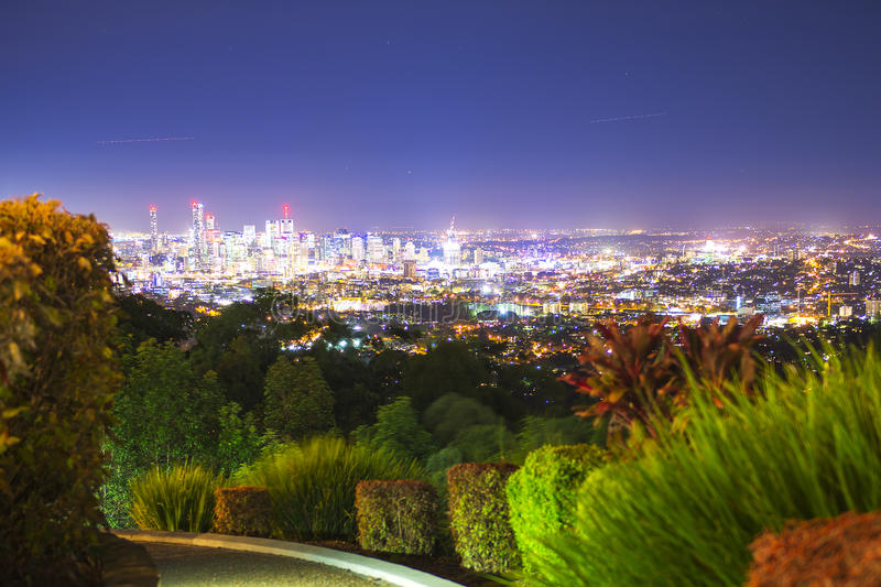 View of the Brisbane City from Mount Coot-tha royalty free stock image