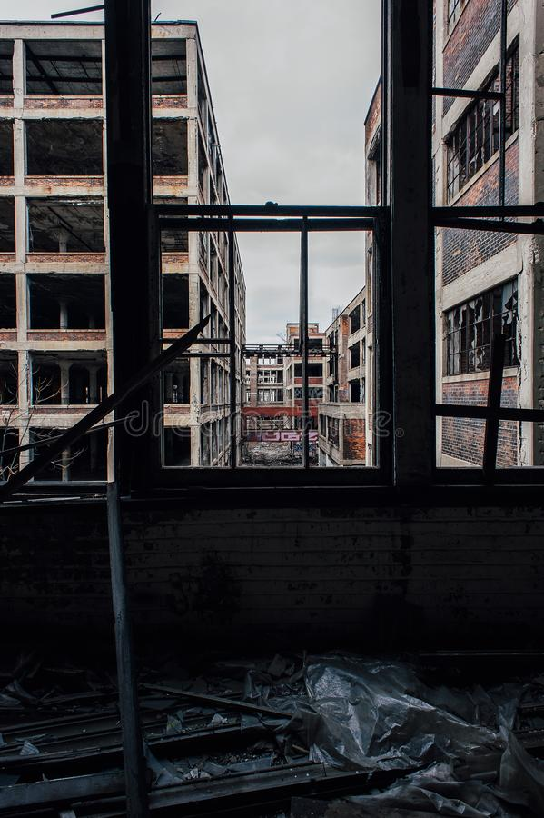 Broken Windows - Abandoned Packard Automobile Factory - Detroit, Michigan royalty free stock photo