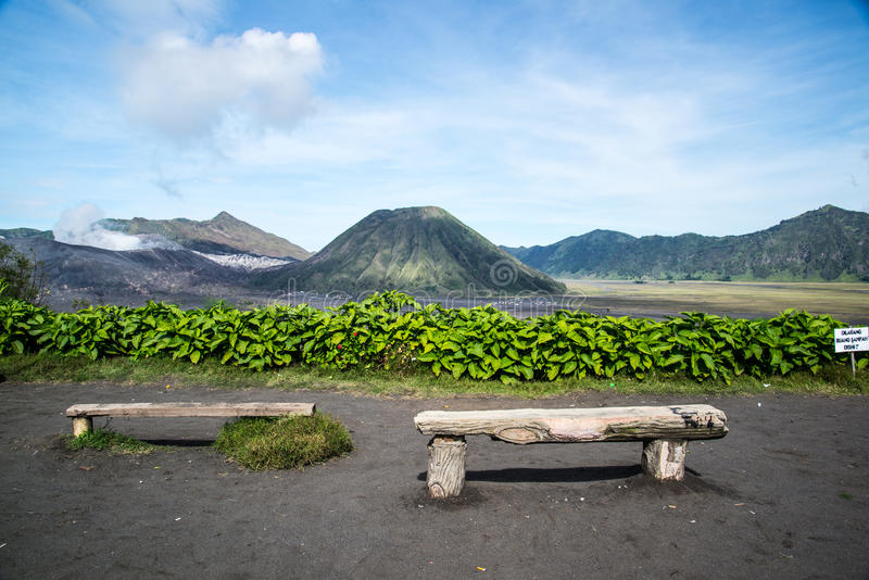 View bromo from Lava View Lodge Hotel stock photography