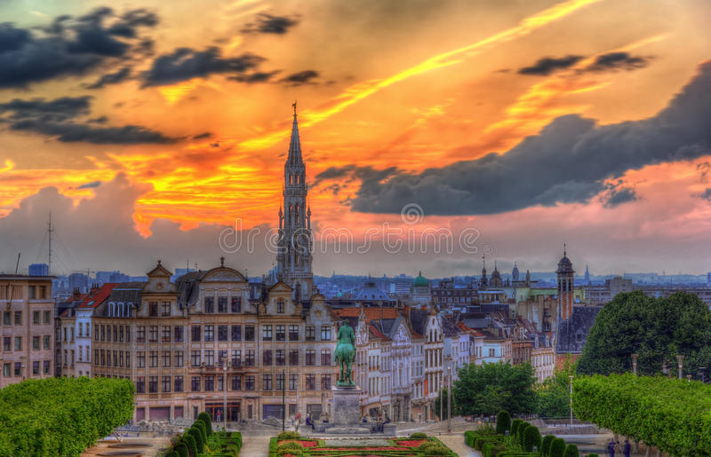 View Of Brussels City Center Stock Photo