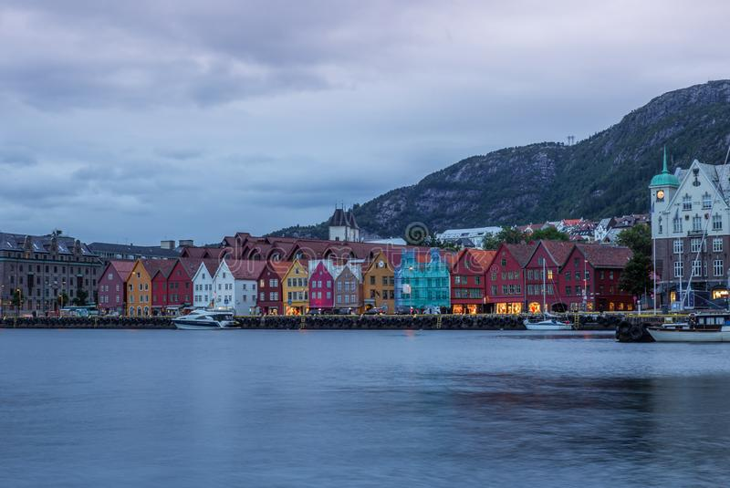 View of the Bryggen waterfront in Bergen in Norway early in the stock image