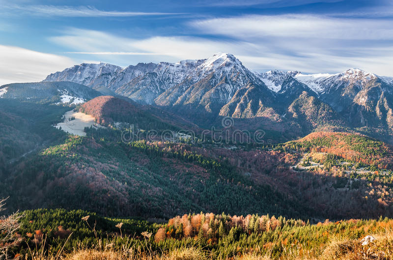 A view of Bucegi mountains in a November morning royalty free stock photo
