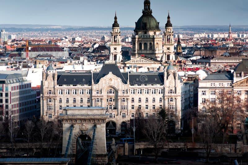 View of the Budapest skyline with St. Stephens Basilica Szent Istvбn Bazilika and Gresham Palace. Hungary. View of the Budapest skyline with St. Stephens stock photography