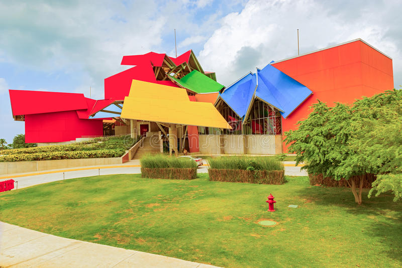 View at the building of Biomuseo in Panama City, Panama stock images