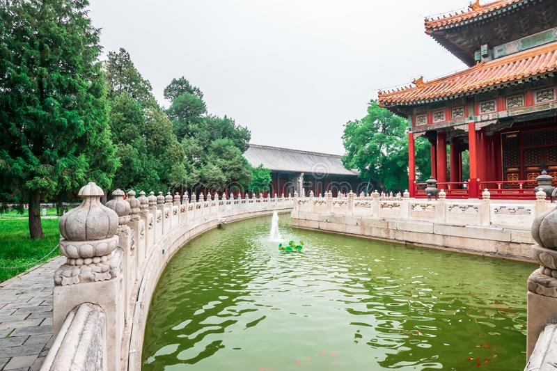 View of the building, garden park and canal at Confucius Temple and The Imperial College Museum in Beijing, China stock photo