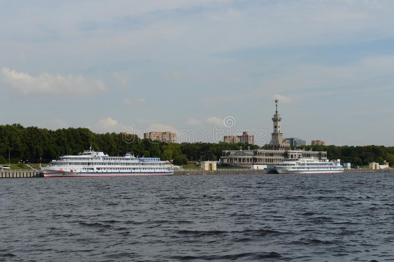 View of the building of the Northern river station from the Khimki reservoir in Moscow stock photos