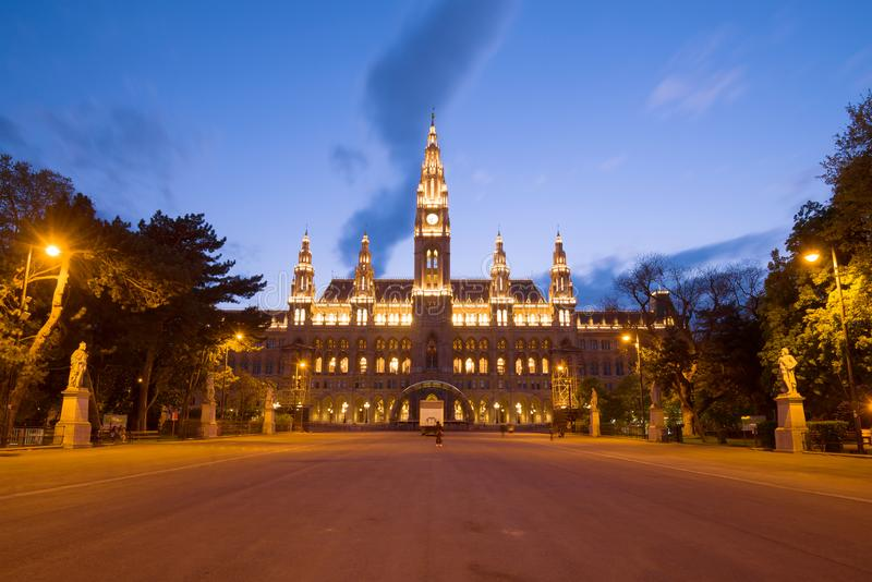 View of the building of the old town hall in the night illumination, Vienna royalty free stock photos