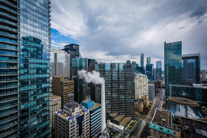 View of buildings along Simcoe Street, in downtown Toronto, Ontario. stock photo