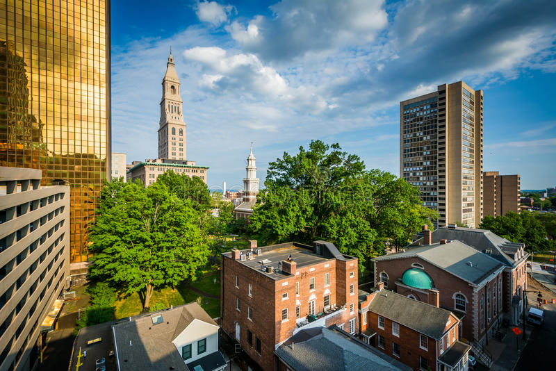 View of buildings in downtown Hartford, Connecticut. stock image