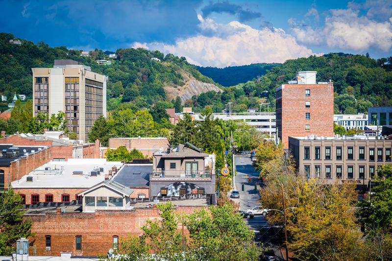 View of buildings in downtown and Town Mountain, in Asheville, N. Orth Carolina stock photography