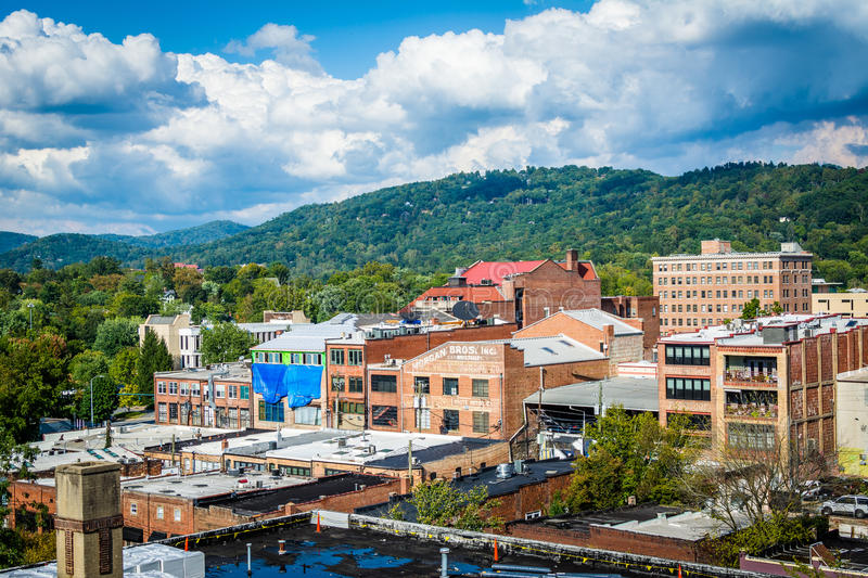 View of buildings in downtown and Town Mountain, in Asheville, N. Orth Carolina stock image