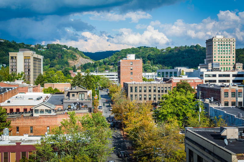 View of buildings in downtown and Town Mountain, in Asheville, N. Orth Carolina stock photo