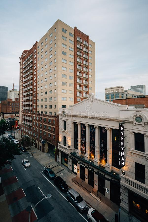A view of buildings on Fayette Street, in downtown  Baltimore, Maryland.  royalty free stock photography