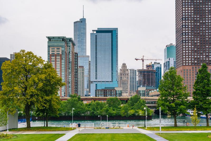View of buildings from Navy Pier, in Chicago, Illinois stock images