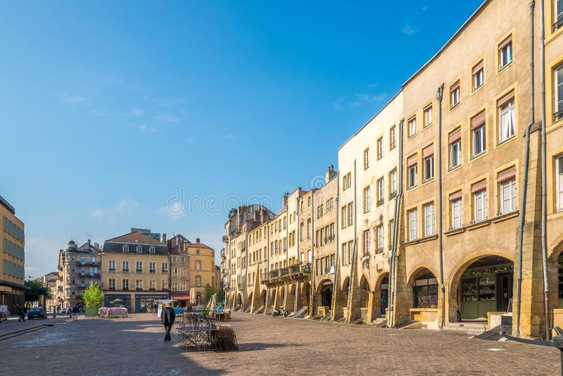 View at the buildings of Saint Louis place in Metz - France stock photo
