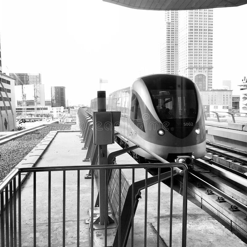 View Of Buildings And Train In Black And White stock images