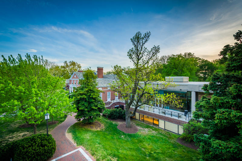 View of buildings and trees at Johns Hopkins University, in Baltimore, Maryland. stock photos