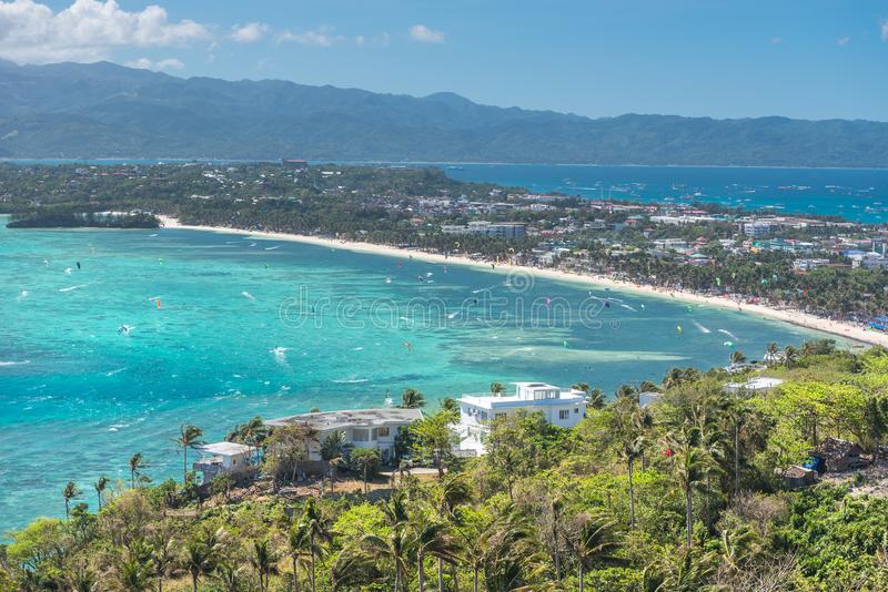 View of Bulabog beach, one of the most sought-after spots for kiteboarding and windsurfing, Boracay island, Philippines. View of Bulabog beach, one of the most stock photo
