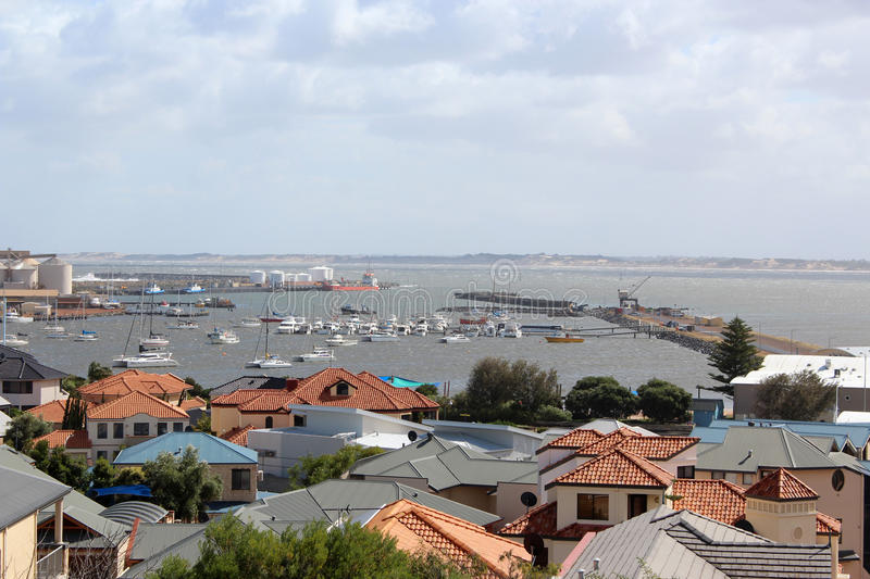 View of Bunbury Port West Australia. The view displays part of the commercial centre of Bunbury in south western Australia looking towards the port from the royalty free stock image