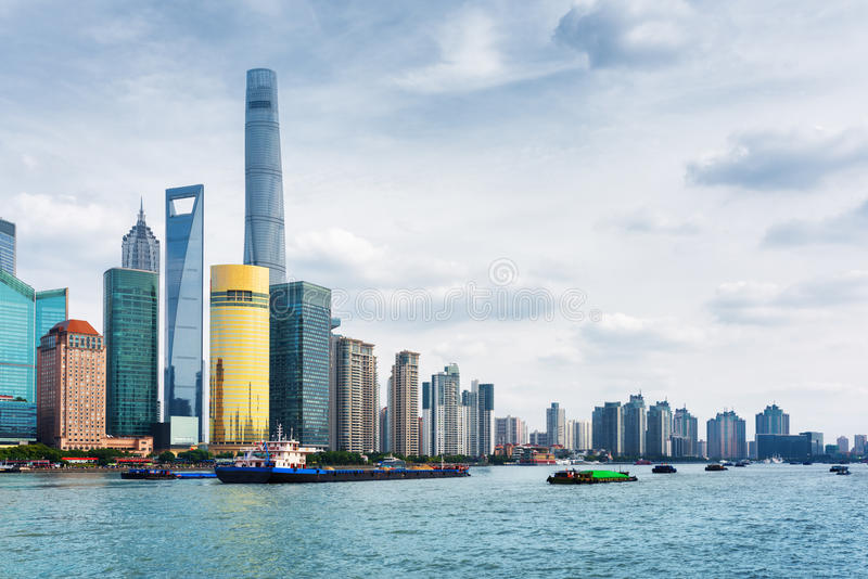 View from the Bund across the Huangpu River, Shanghai, China. View from the Bund across the Huangpu River in Shanghai, China. The Shanghai Tower, the Shanghai royalty free stock photos