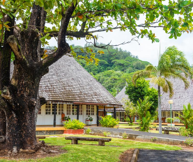 View of a bungalow among the forest, Raiatea island, French Polynesia.  royalty free stock photo