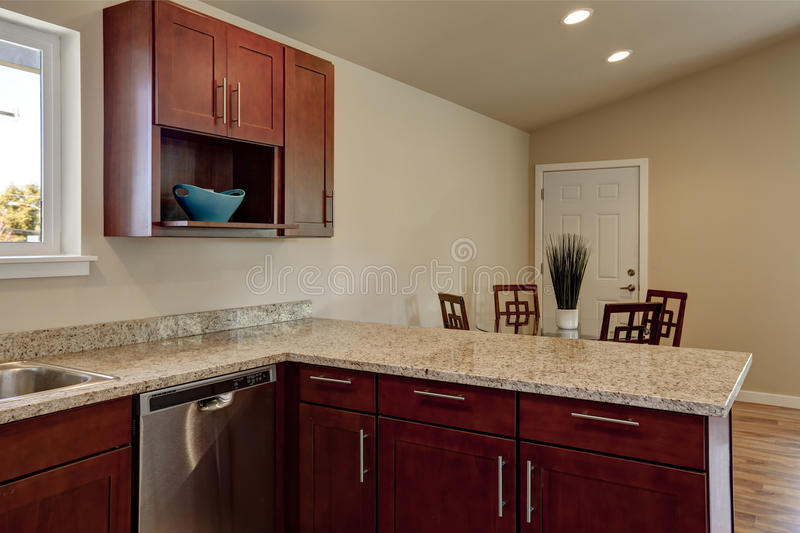 Download View Of Burgundy Kitchen Cabinets With Granite Counter Top Stock  Photo   Image Of Cabinets
