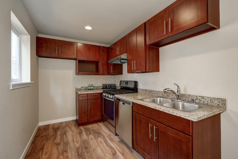 Download View Of Burgundy Kitchen Cabinets With Granite Counter Top Stock  Image   Image Of Clean
