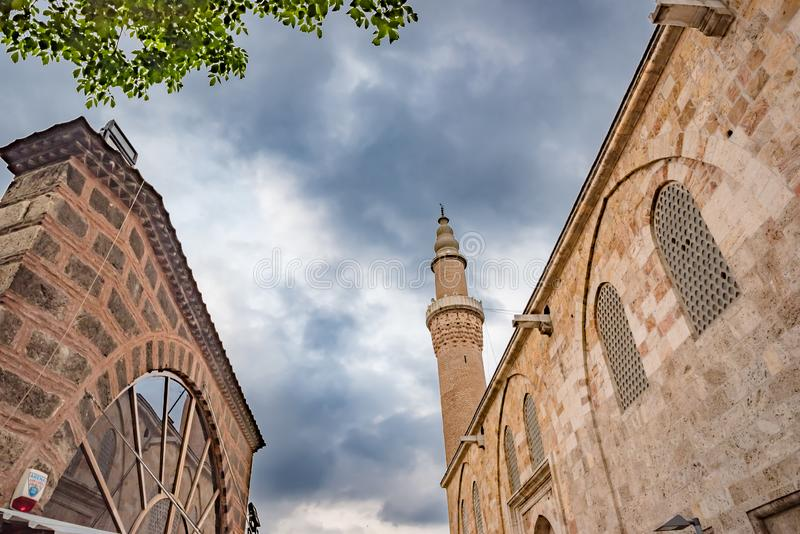 View of Bursa Grand Mosque or Ulu Cami in Bursa, Turkey. View of Bursa Grand Mosque or Ulu Cami is largest mosque in Bursa and landmark of early Ottoman stock photos
