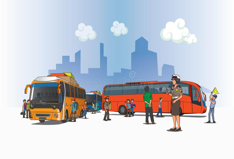 View of bus terminal in Indonesia vector illustration
