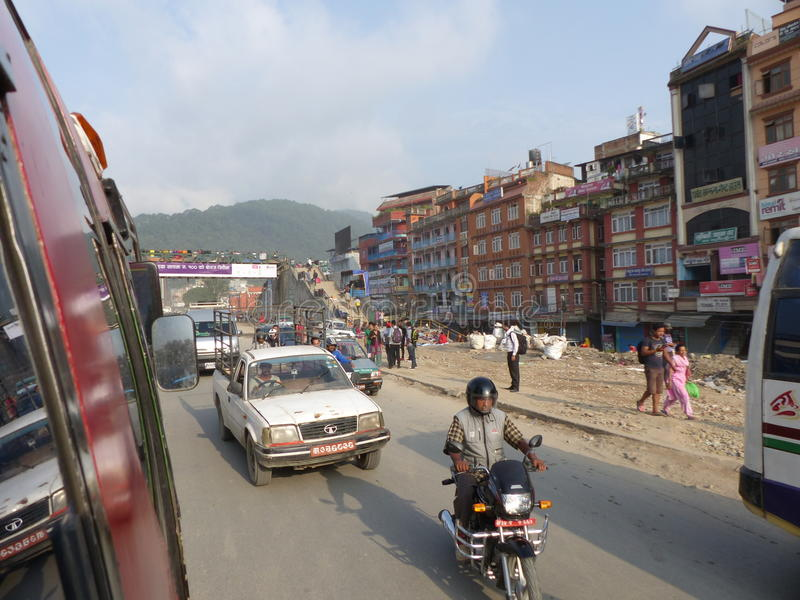 View from bus window to streets of Kathmandu stock photo