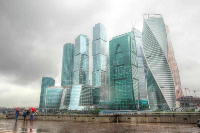 View of the business center Moscow City in the summer stock images