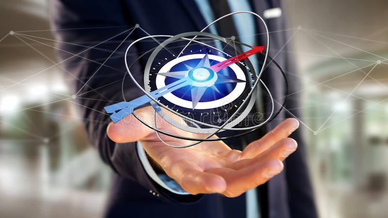 Business man holding a navigation compass - 3d rendered. View of a Business man holding a navigation compass - 3d rendered vector illustration