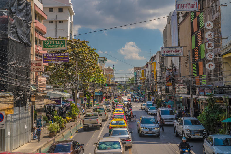 View of business signs and traffic jam during beautiful sunny day in Bangkok. Thailand royalty free stock images